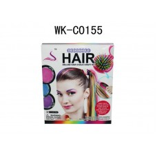 Мел для волос (мягкая щетка для волос с зеркальцем, мелки 4 шт) 14х16х5 см (Китай, 89018)