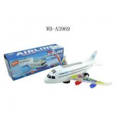Самолет эл/мех со световыми и звуковыми эффектами 22.5x6.5x8см (Китай, A380-300)