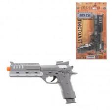 Пистолет металлик на батарейках, на блистере, 26х15,3х3,5 см (Китай, ARS-251)