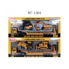 Автовоз металлический в наборе со 2 строительными машинами в наборе с аксессуарами, 44.5x5.9x16.2 см (Китай, F12)