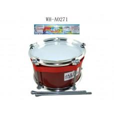 Барабан (красный) с палочками, в пакете, 22x22x13 см (Китай, JD399C)