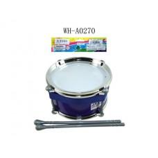Барабан (синий) с палочками, в пакете, 15x15x9 см (Китай, JD399D)