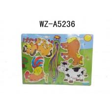 """Деревянный паззл-шнуровка """"Животные на ферме"""" (Китай, XQ6003)"""
