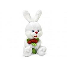 """Заяц с блестящими розами музыкальный 20 см, звук """"Букетик для тебя"""" (LAVA, Л1140)"""