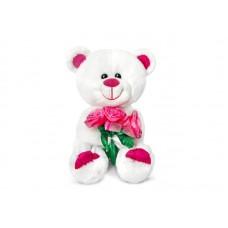 """Медведь Амурчик с букетом роз музыкальный 18 см, звук """"Букетик для тебя"""" (LAVA, Л1232)"""
