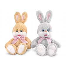 """Зайчишка с шелковым бантом маленький музыкальный 28 см, звук """"Я маленький зайчик"""" (LAVA, Л508A)"""