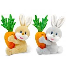 """Заяц с большой морковкой музыкальная 18 см, звук """"Я маленький зайчик"""" (LAVA, Л8427)"""