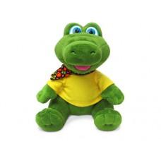 """Крокодил в футболке с платочком музыкальный 19 см, звук """"В зоопарк спешите дети"""" (LAVA, Л8744)"""