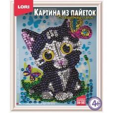 Картина из пайеток Мечтающий котенок (ЛОРИ, Ап-013)