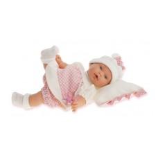 1111W Кукла Antonio Juans Ланита на бежевой подушке плачет 27см.