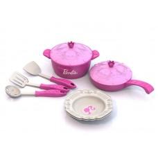 Barbie. Набор кухонной посудки БАРБИ (9 предметов в сетке) 12х15х26 см.
