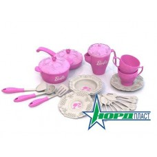 Barbie. Набор кухонной и чайной посудки БАРБИ (21 предмет в сетке) 11х22х22 см. (Нордпласт, Н-639)