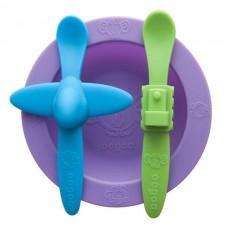 Набор посуды: фиолетовая тарелка, голубая ложка в форме самолета, зеленая ложка в форме поезда (OOGAA, 812)