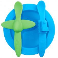 Набор посуды: голубая тарелка, зеленая ложка в форме самолета, голубая ложка в форме поезда (OOGAA, 814)