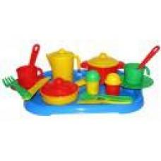 """Посуда """"Настенька"""" на 2 персоны, с подносом 31х25,8х9,5 см. (Полесье, П-3940)"""