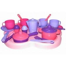 Набор детской посуды Янина с подносом на 4 персоны 41,5х35х10,5 см. (Полесье, П-4060)
