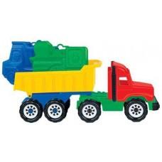 Набор №69: Фаворит, автомобиль-самосвал + формочки (самосвал + паровоз) 30х10х16,5 см. (Полесье, П-4222)