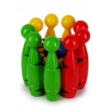 Кегли в держателе Дружная семья (в сетке, 13 деталей) (Рославльская игрушка, 9334в)