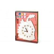 """Часы с циферблатом под роспись """"Домик"""" с красками"""