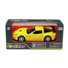 Машина металлическая RMZ City 1:32 Chevrolet Corvette C6-R, инерционная, цвет желтый металлик (UNI-FORTUNE Toys Industrial Ltd., 554003Z(E))