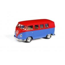Машина металлическая RMZ City 1:32 Автобус инерционный Volkswagen Type 2 (T1) Transporter, цвет матовый красный с синим, 16,5x7,5x7 см