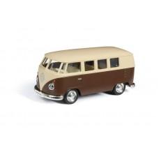 Машина металлическая RMZ City 1:32 Автобус инерционный Volkswagen Type 2 (T1) Transporter, цвет матовый бежевый с коричневым, 16,5x7,5x7 см