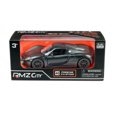 Машина металлическая RMZ City 1:32 Porsche 918 Spyder, инерционная, черный матовый цвет (UNI-FORTUNE Toys Industrial Ltd., 554030M)